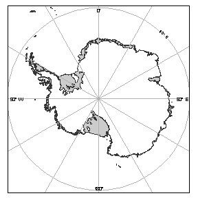 An azimuthal equidistant projection of Antarctica (© Australian Antarctic Division)