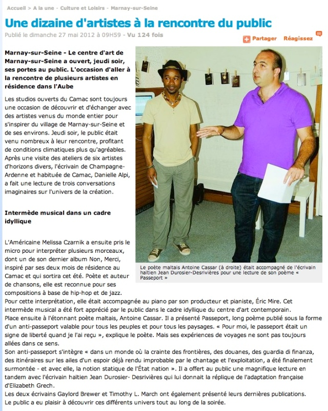 Article in L'Est-Éclair newspaper, 27 May 2012