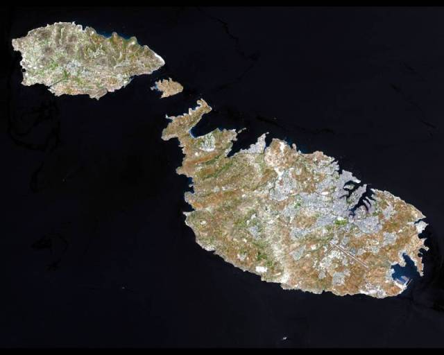 A satellite image of the Maltese islands © Nasa/Wikipedia
