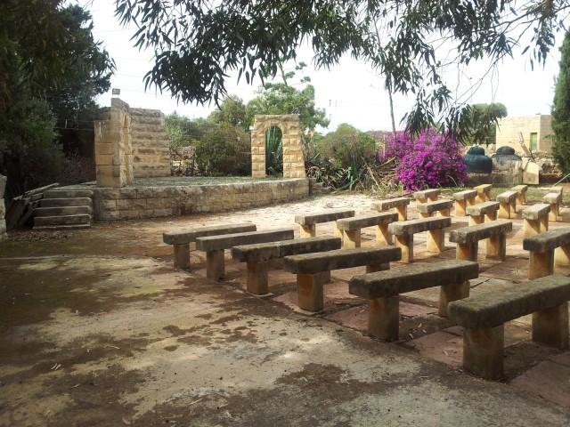 One of two abandoned outdoor theatres at the Laboratorju tal-Paċi, Ħal Far, Malta.