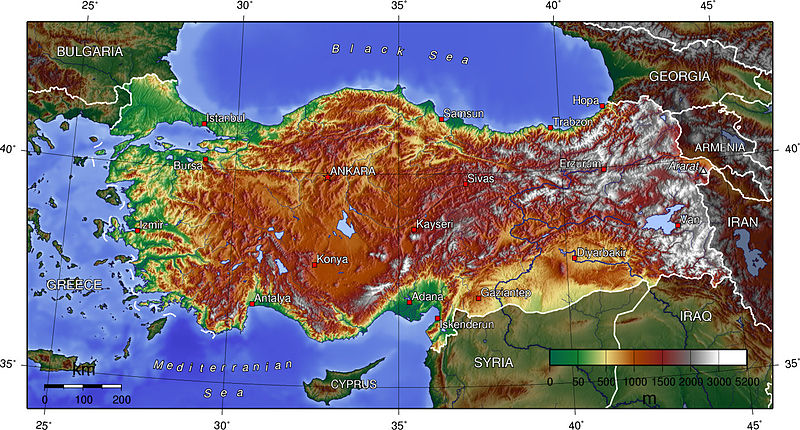 Topographic map of Turkey (Wikipedia)