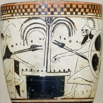 Achilles and Ajax play a board game with knucklebones on this late 6th-century lekythos, a type of oil-storing vessel associated with funeral rites (source: Wikipedia)