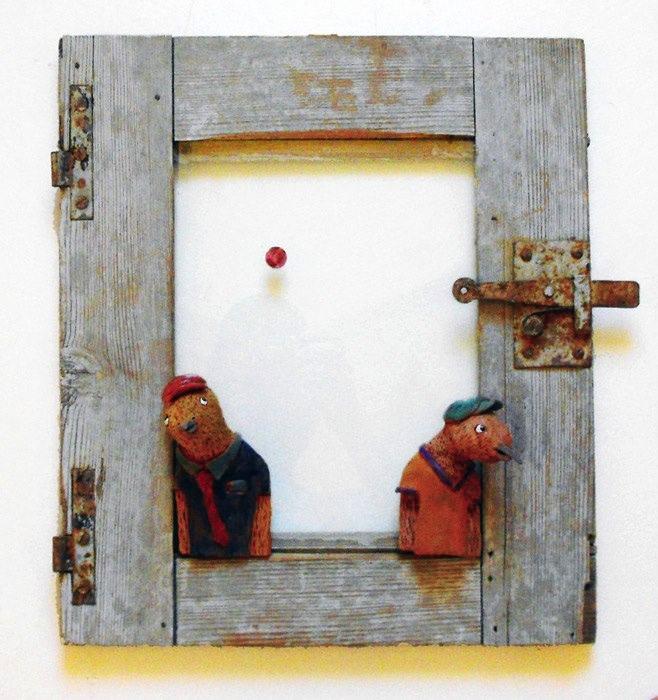 """""""Devo migrare - Promettimi che torni"""", wood and ceramics, by Giorgio di Palma (Grottaglie)"""