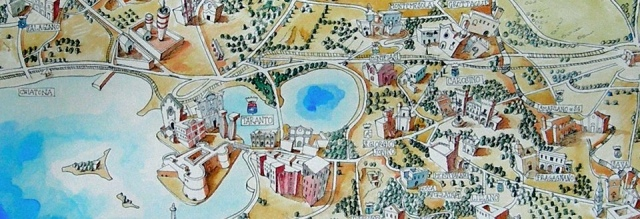 Detail from Terra tarantina, a map by visual artist Francesco Frascella (Carosino / Rome)