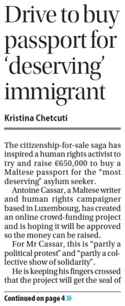 Times of Malta, 19.11.13, page 1. Click to enlarge.