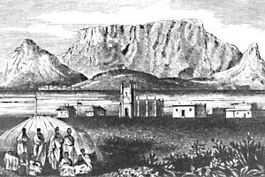 Xhosa chiefs imprisoned at Robben Island in the 19th century. (Wangermann engraving from 1868 in the South African Library/Robben Island Museum)